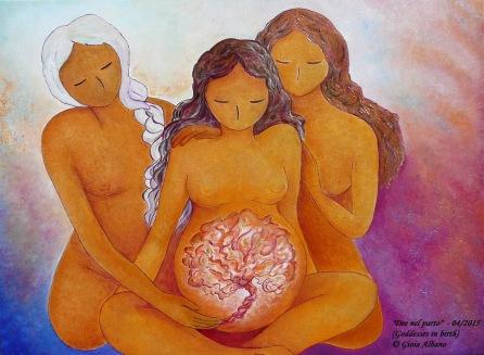 Birthing womanhood divine feminine art Dee nel parto Goddesses in birth Gioia Albano art 2015 300 dpi