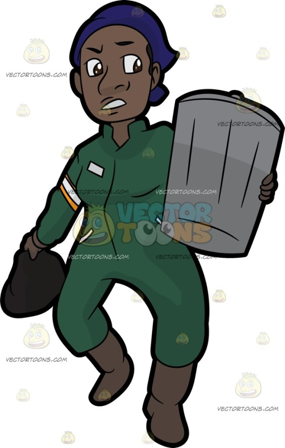 A black woman wearing blue bandana, green overalls, grayish brown gloves and boots, holding a dark brown trash bag in her right hand, as her left arm carries a gray trash can