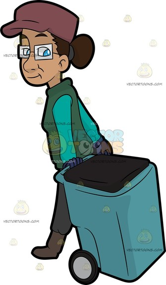 A woman with brown hair tied in a bun, wearing a pale red cap, rectangular framed eyeglasses, aqua green long sleeved shirt under a green vest, blue gloves, gray pants and light brown shoes, smirks while pulling a light blue trash bin with a dark gray lid and wheels